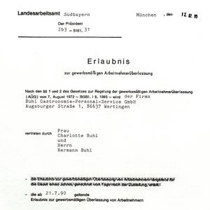 Buhl Erlaubnis Arbeitnehmerüberlassung im Jahre 1995