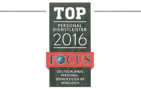 Urkunde Top Personaldienstleister 2016