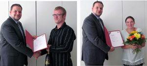 Regionalleiter Michael Laudenbach beglückwünscht seine beiden Jubiläumsköche: Herrn Oliver Zängel (Bild links) und Frau Susanne Loreck (Bild rechts).