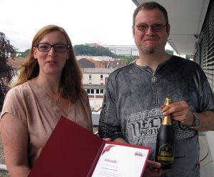 Freude über 5 Jahre BUHL: Markus Zobel-Bischoff mit Personaldisponentin Melanie Maletz.