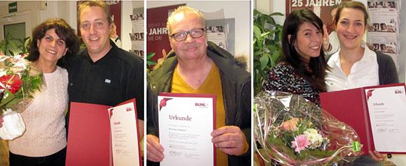 Jubilare in Bochum: Mejreme Ramqaj, Dieter Kaßubeck und Canan Özdemir