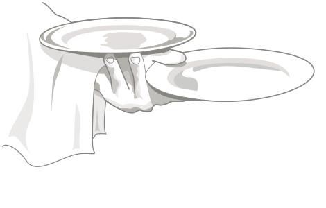 Zeichnung Hand Kellner mit Tellern