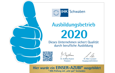 IHK Ausbildungsbetrieb 2020 - Qualität durch berufliche Ausbildung