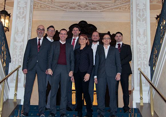 (v.l.n.r.): Matthias Recknagel, Holger Kraatz, Georg Graf, Martin Öhlhorn, Charlotte Buhl, Mario Sander, Wolfgang Laurien, Karsten Dreßen