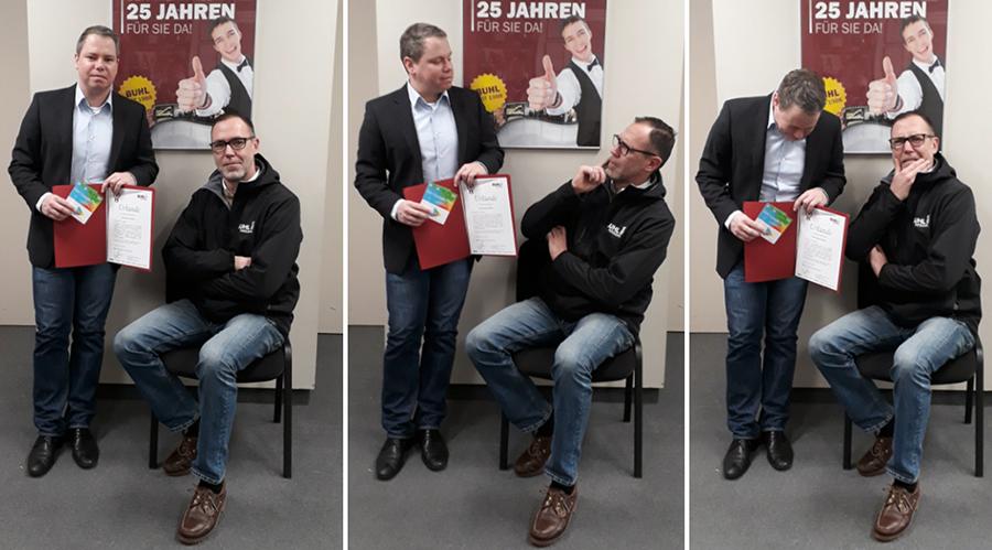 Carsten Knobloch und Regionalleiter Paul Müller bei der Jubilar-Ehrung